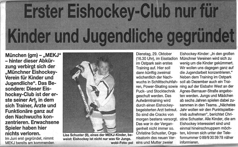 Eishockey-Nationalspielerin Lisa Schuster bei ihrem Ersten Zeitungsauftritt mit 9 Jahren